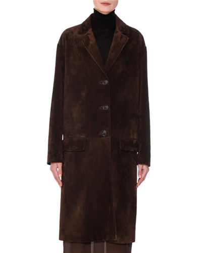 Suede Button-Front Trench Coat