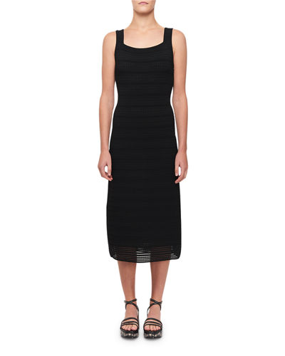 Sleeveless Fitted Ribbed Midi Dress