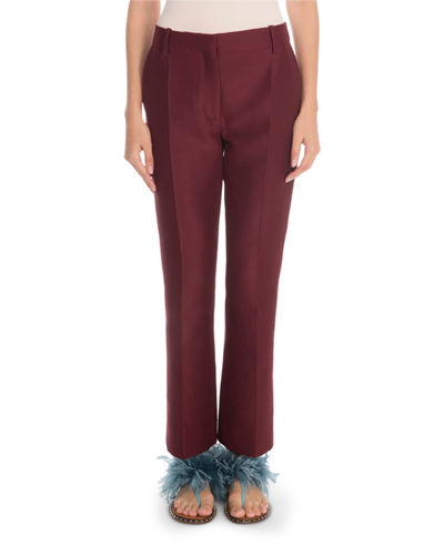 Front-Zip Crepe Couture Pleated Pants