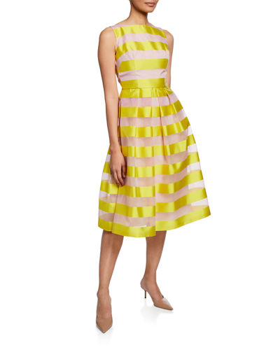 Striped Full-Skirt Dress