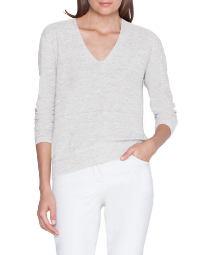Sequined Linen-Cotton V-Neck Sweater