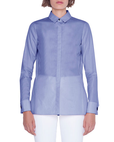 Cotton Button-Front Poplin Blouse