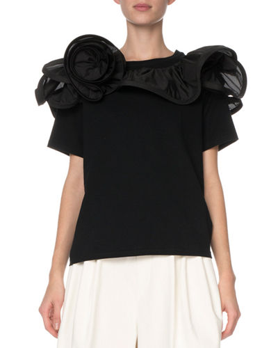 Short-Sleeve Ruffled-Rosette T-Shirt