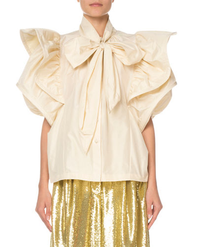 Short-Sleeve Ruffled Taffeta Blouse