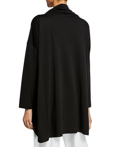 Long-Sleeve Cowl-Neck Monk's Top T-Shirt