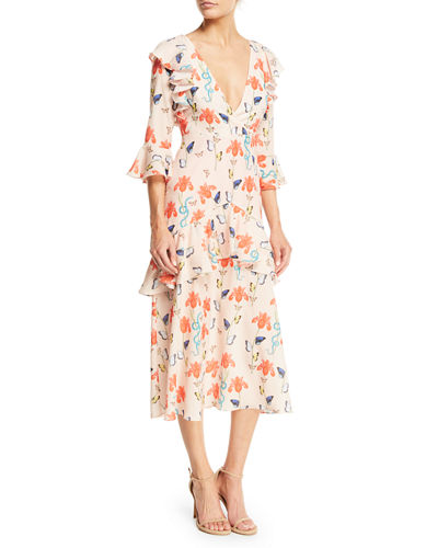 V-Neck 3/4-Sleeve Ruffled Butterfly & Floral Print Midi Dress