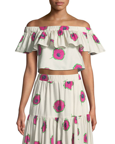 Double Love Off-the-Shoulder Floral-Print Cropped Cotton Top