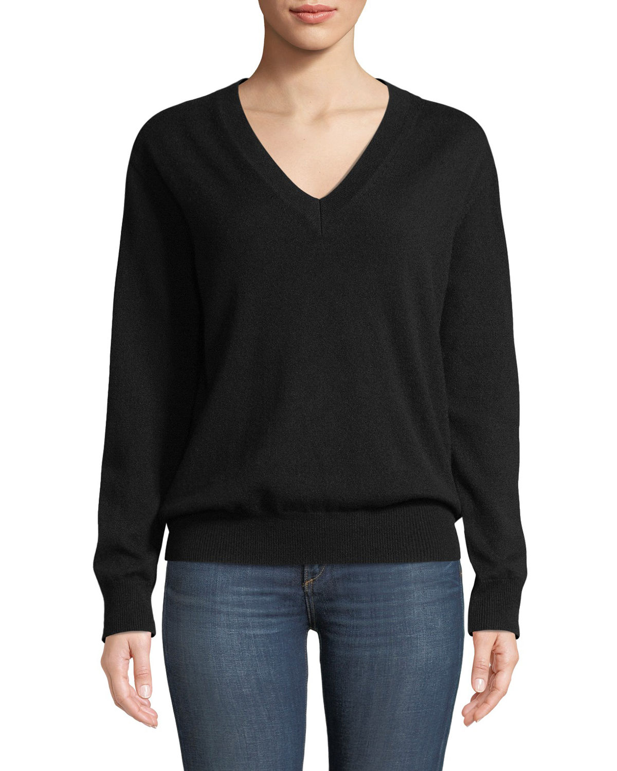Tomas Maier V-NECK LONG-SLEEVE CASHMERE PULLOVER SWEATER