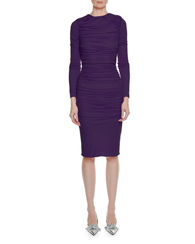 Long Sleeve Ruched Viscose Crepe Pencil Dress Quick Look Purple Tom Ford