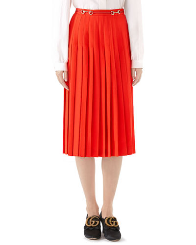 Leather-Belted Sable Wool Pleated Skirt