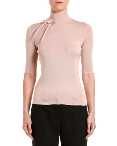 High-Neck 1/2-Sleeve Top w/ Bow