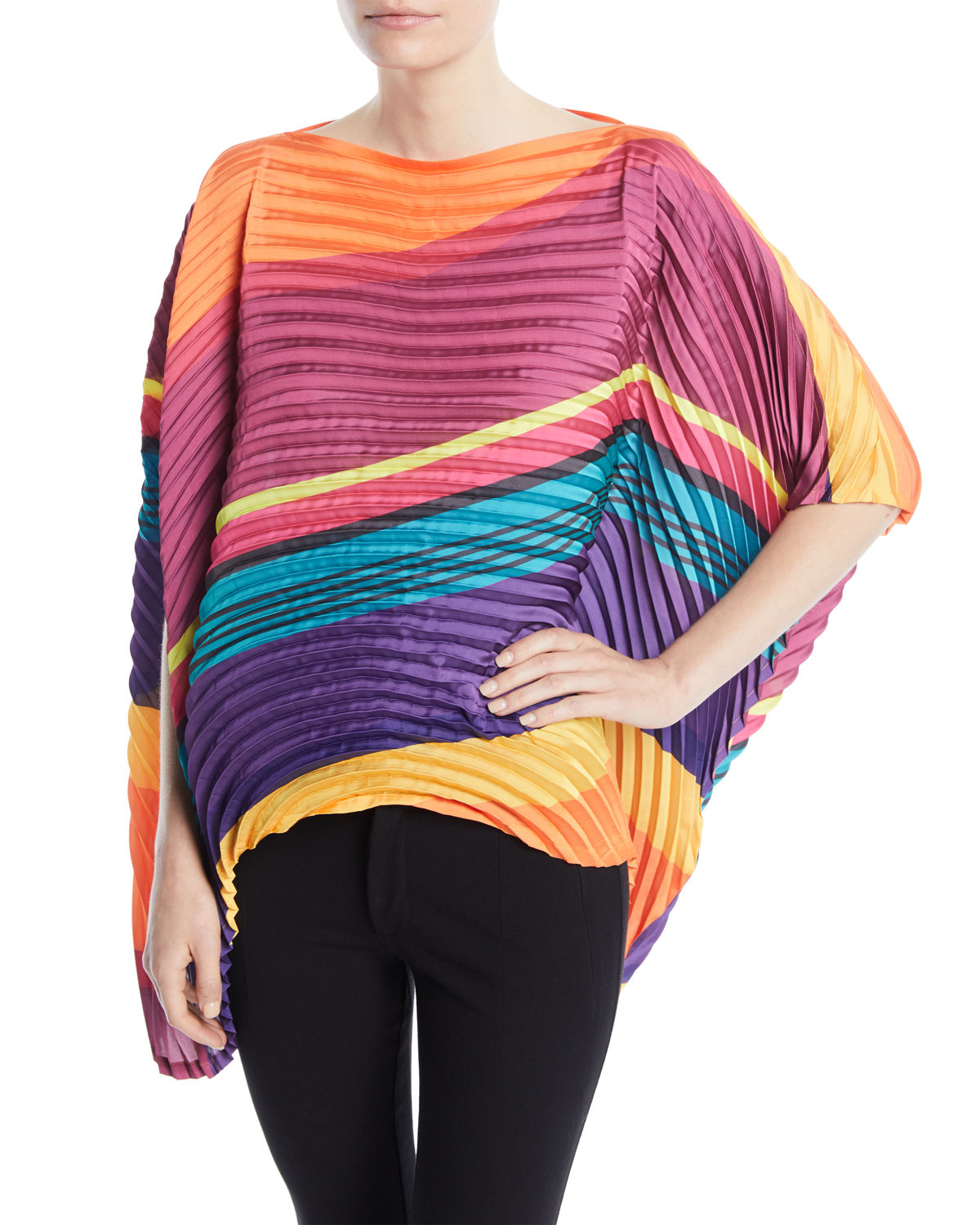 Issey Miyake PLEATED STRIPED OVERSIZED TOP