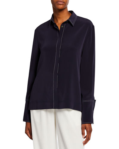 Wide-Cuffed Button-Front Blouse