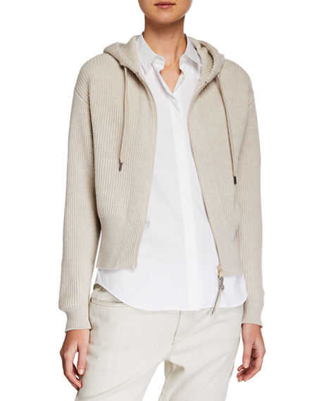 Brunello Cucinelli Tops RIBBED CASHMERE ZIP-FRONT HOODIE CARDIGAN