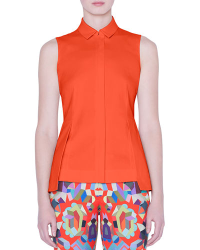 Sleeveless Zip-Front Peplum Shirt