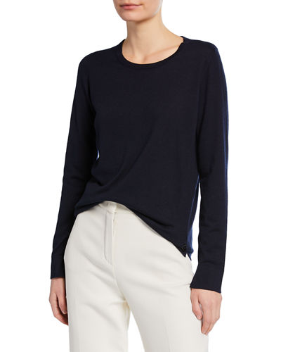 Piuma Crewneck Long-Sleeve Cashmere T-Shirt