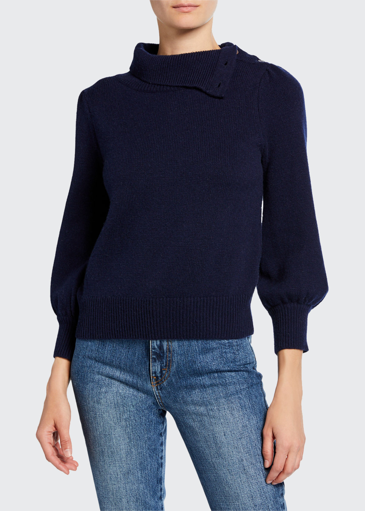Co Sweaters CASHMERE CONVERTIBLE POET-SLEEVE SWEATER