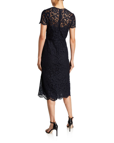 Heavy Lace Illusion Midi Cocktail Dress