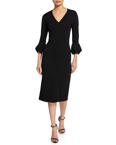 Fitted Handkerchief-Sleeve V-Neck Dress