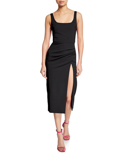 Square-Neck Sleeveless Cocktail Dress