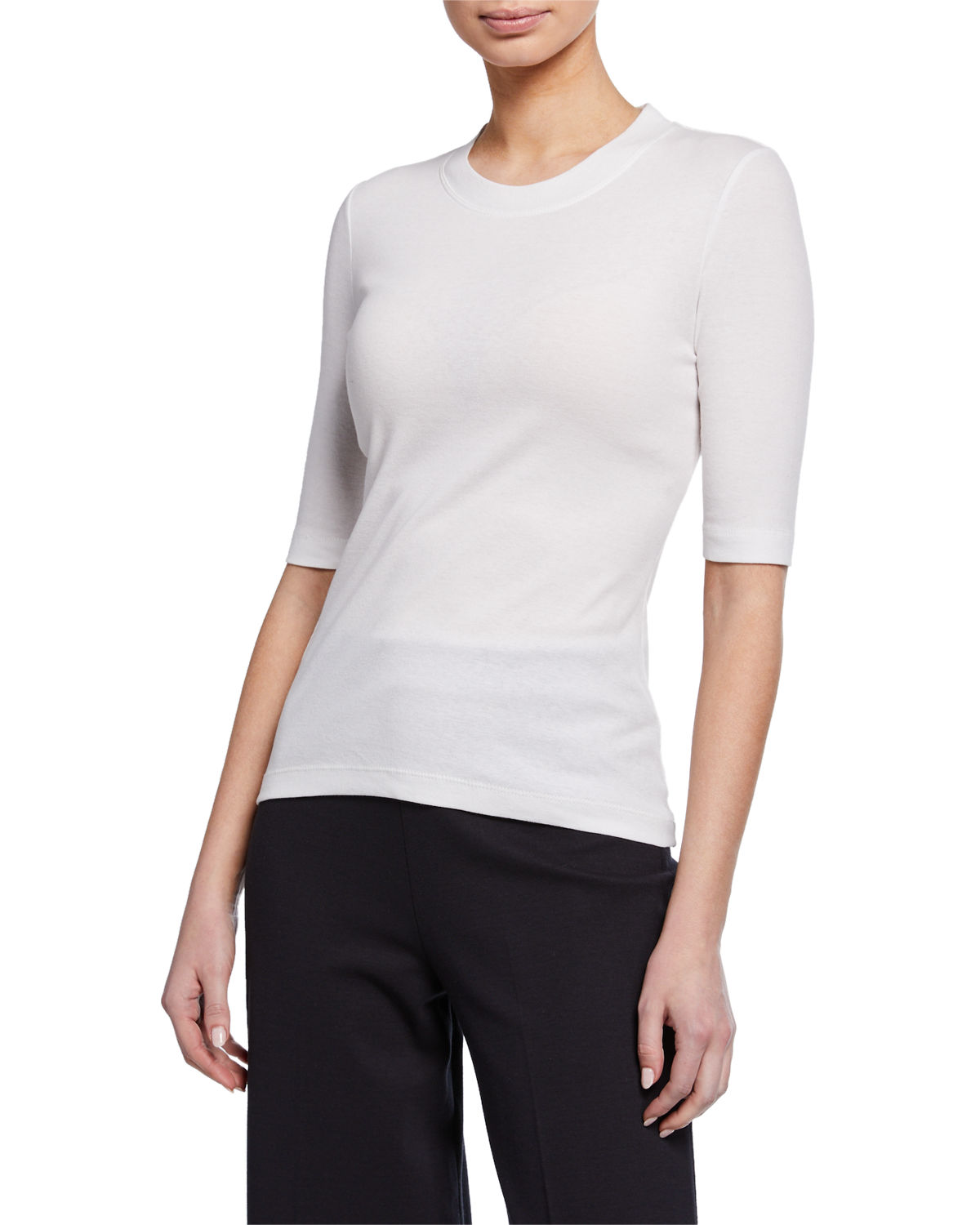 Rosetta Getty T-shirts 1/2-Sleeve Fitted T-Shirt, WHITE