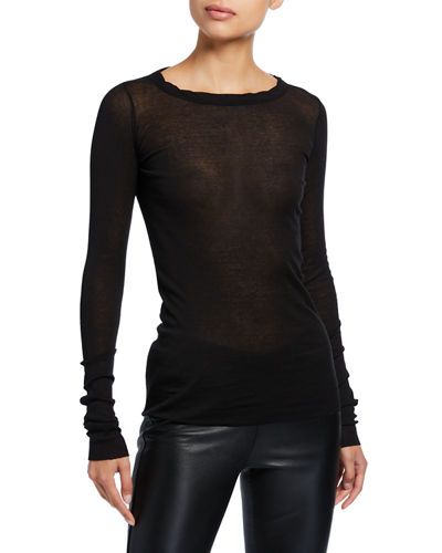 Cotton Mini-Ribbed Long-Sleeve Tee