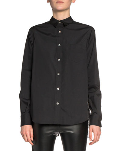 Poplin Button-Front Shirt with Plisse Lace Back