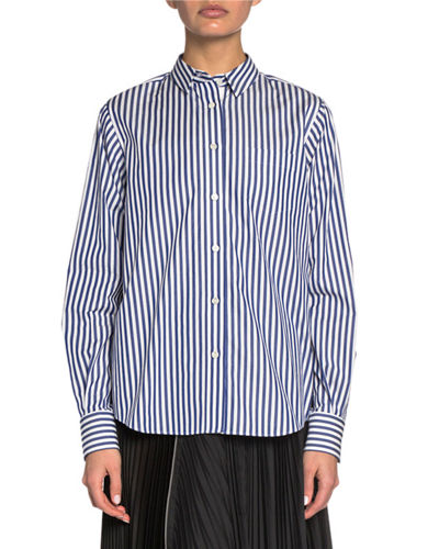 Striped Poplin Button-Front Shirt with Plisse Lace Back