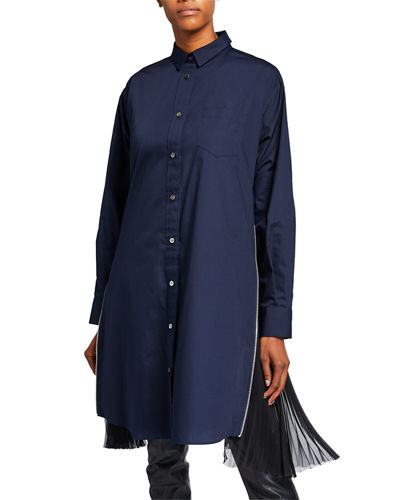 Pleated-Side Long Button-Front Shirtdress