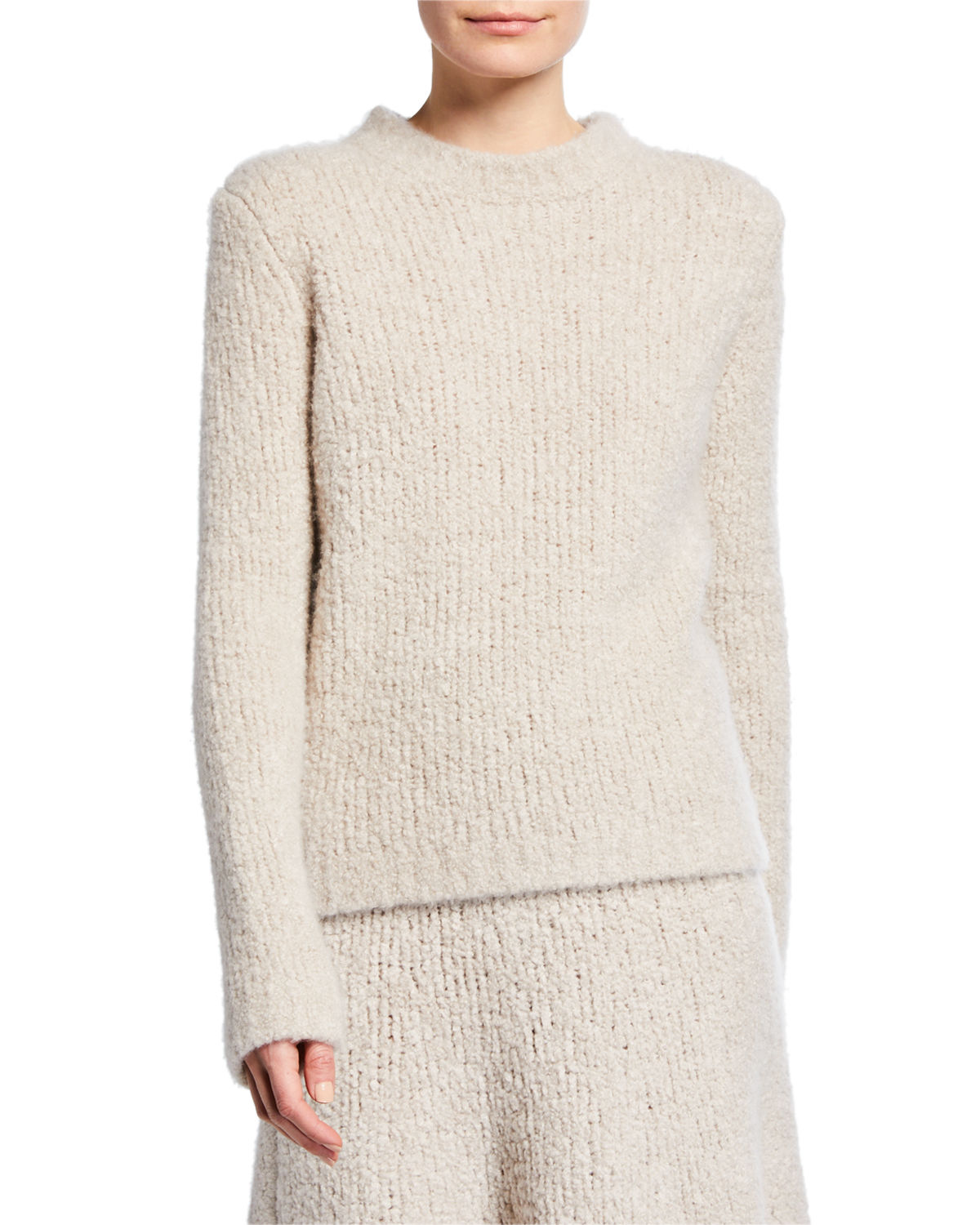 Gabriela Hearst Sweaters Philippe Cashmere Silk Boucle Sweater, LIGHT BEIGE