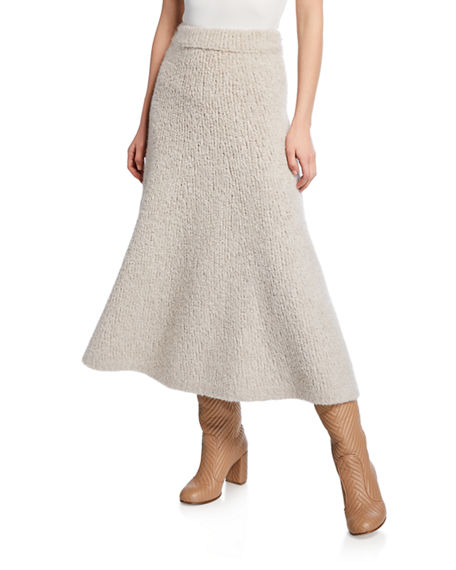 Gabriela Hearst Skirts Pablo Cashmere-Boucle Midi Skirt, LIGHT BEIGE