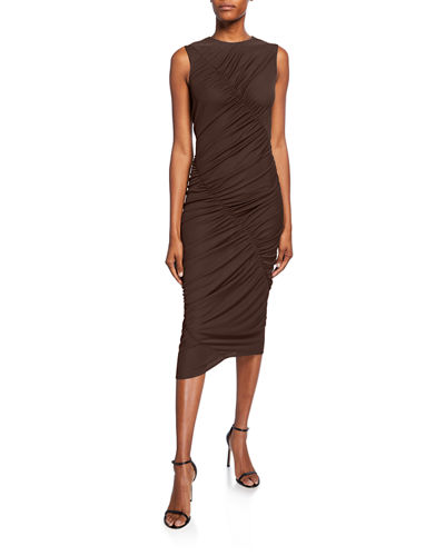 Ruched Jersey Asymmetric Dress