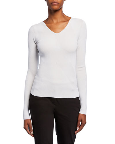 Ribbed Compact Long-Sleeve V-Neck Top