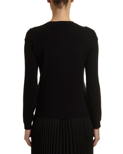 Cashmere Lace-Trim Sweater