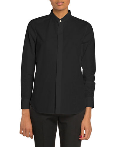 Mandarin Collar Button-Front Poplin Blouse