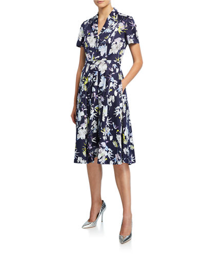 Short-Sleeve Floral-Print Cotton Shirtdress