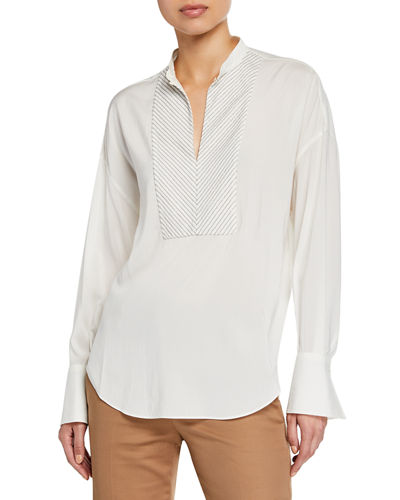 Monili-Beaded Chevron Silk Blouse