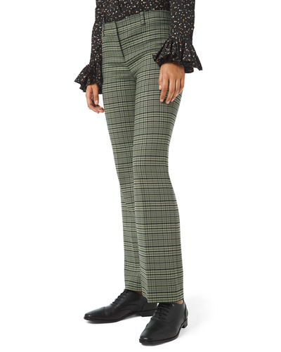 Plaid Stretch Cropped Flare Leg Trousers