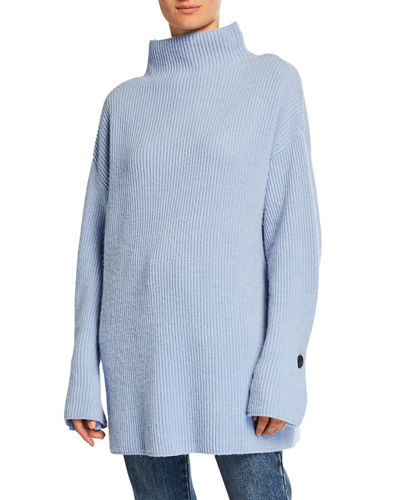 Ribbed Mock-Neck Turtleneck Sweater