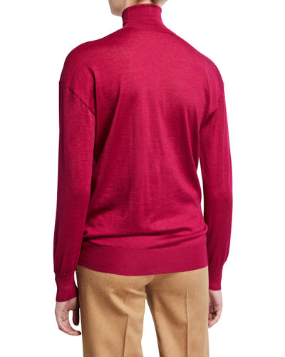 Cashmere/Silk Knit Long-Sleeve Turtleneck Sweater