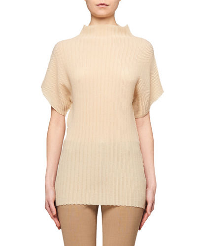 Karolina Pleated Mock-Neck Blouse