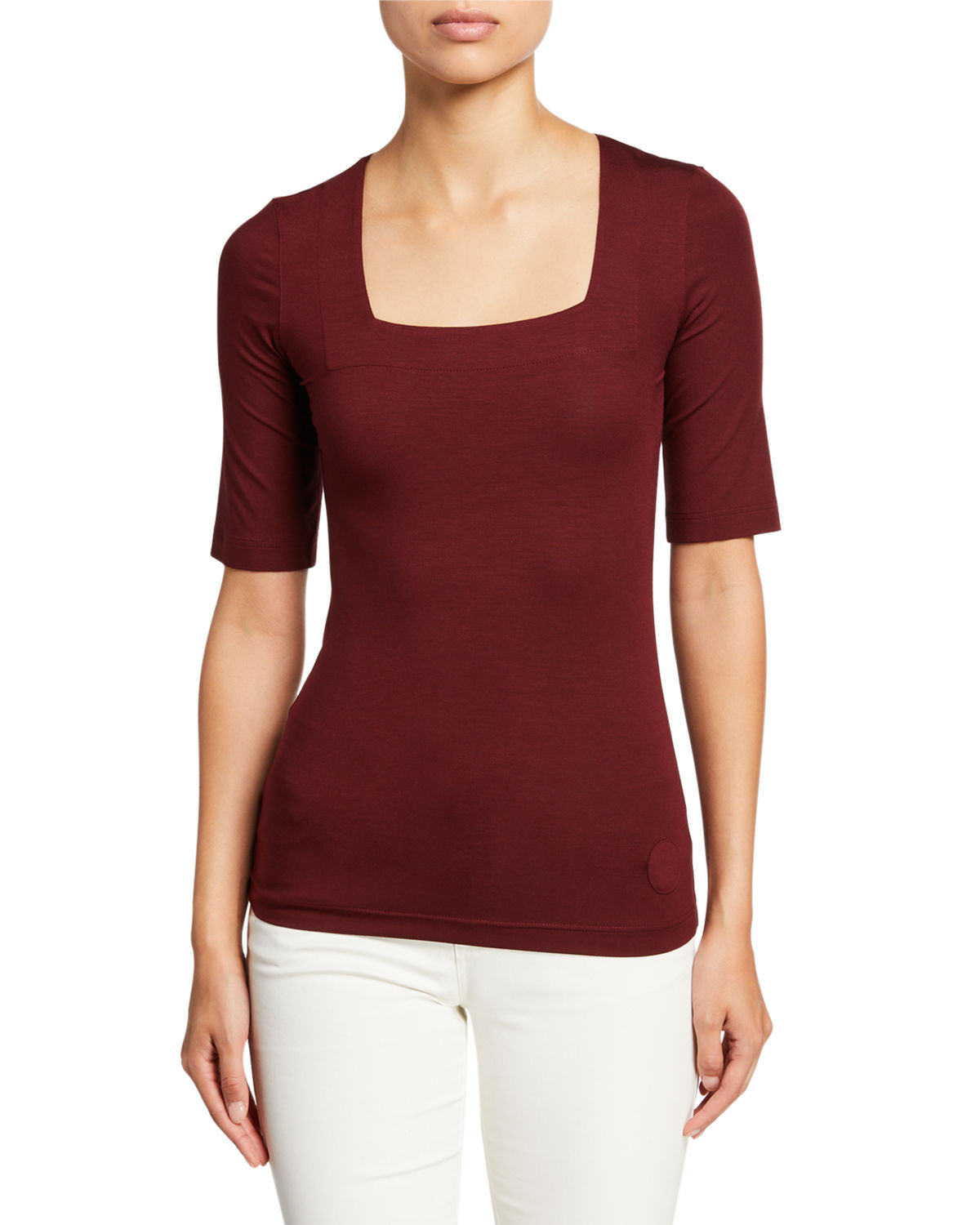 Akris Punto Tops JERSEY SQUARE-NECK 1/2-SLEEVE TOP