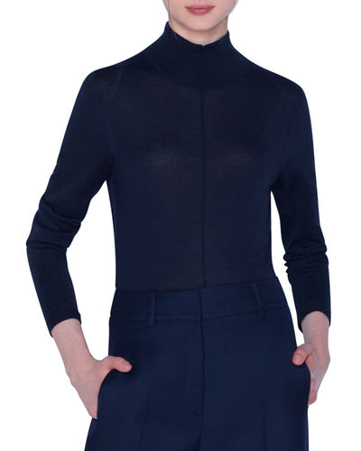 Cashmere-Silk Mock-Neck Seamed-Front Sweater