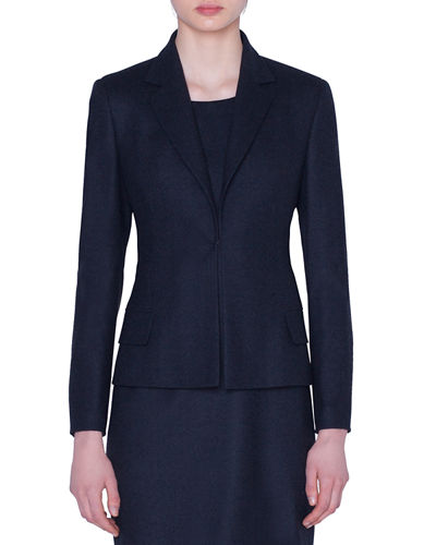 Stretch Wool Hook-Front Jacket
