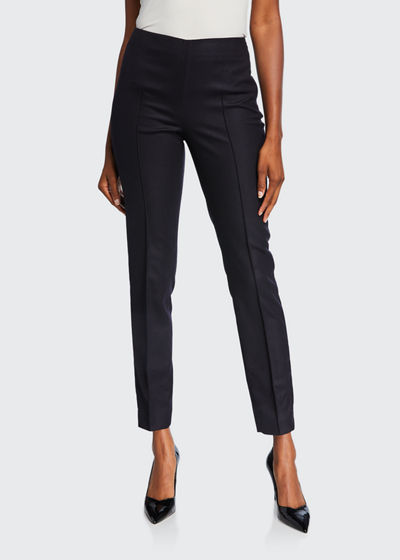 Stretch Wool Slim-Leg Pants