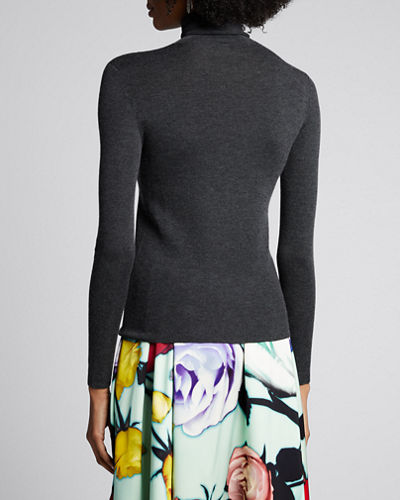 Turtleneck Long-Sleeve Cashmere-Silk Sweater