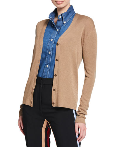 Knit V-Neck Cashmere-Silk Cardigan