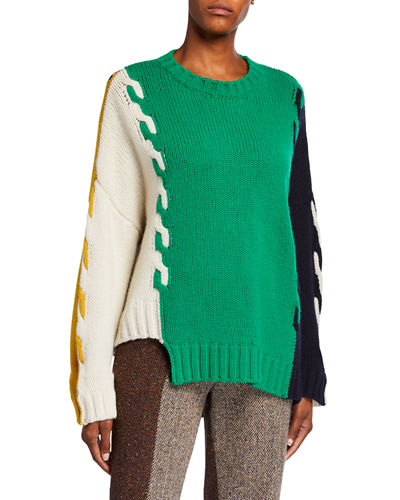 Wool Cable-Knit Asymmetric Sweater