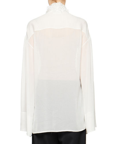 Sarabee Sheer Organza Embellished-Neck Blouse