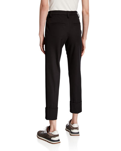 Cotton Cigarette Cuffed Pants